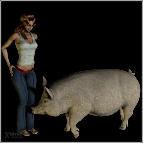 Teen and the pig